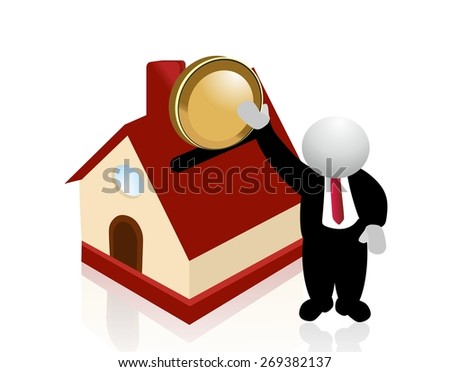 anonymous man and savings for a house - stock photo
