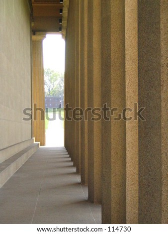 Another exterior view of the Nashville Parthenon. - stock photo