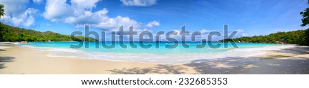 Anse Lazio beach panorama, Praslin, Seyshelles - stock photo