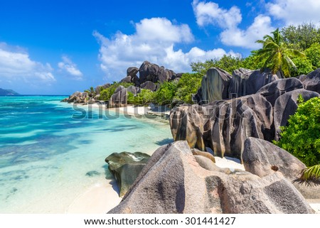 Anse Source d'Argent - Beach on island La Digue in Seychelles - stock photo