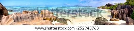 Anse Source d'Argent beach panorama, La Digue Island, Seyshelles - stock photo