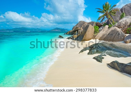 Anse Source d'Argent - Paradise beach on island La Digue in Seychelles - stock photo