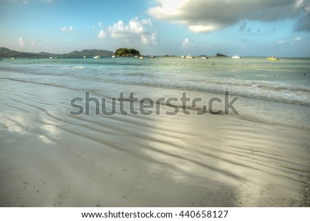 Anse Volbert beach, Praslin island, Seychelles - stock photo