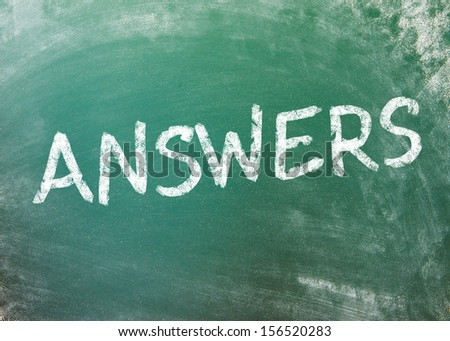 Answer on greenboard - stock photo