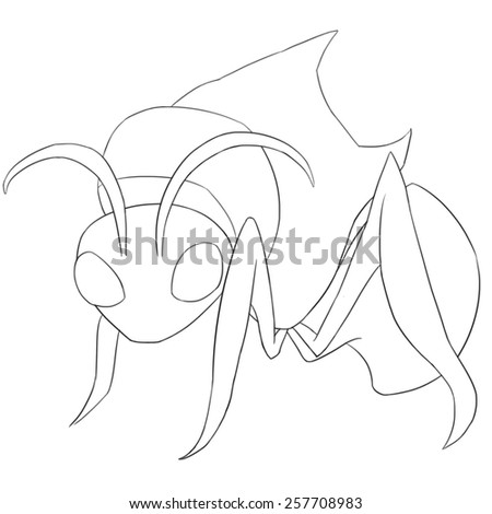 Ant Monster Line Art - Creature Design - stock photo