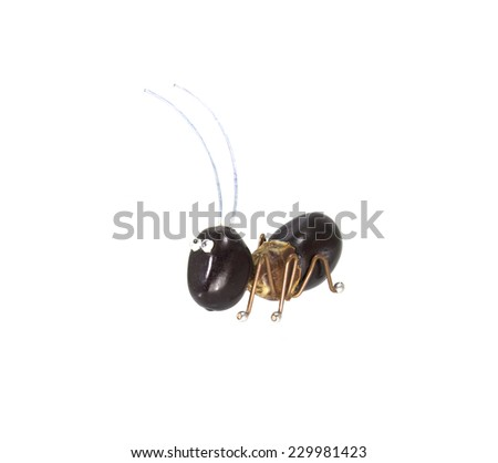ant toy on  white background - stock photo