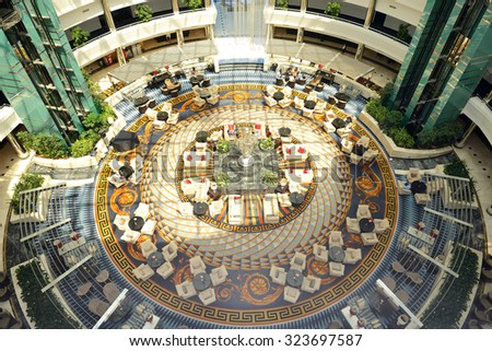 ANTALYA, TURKEY - APRIL 22: The Lobby of Calista Luxury Resort hotel with Versace carpet on April 22, 2014 in Antalya, Turkey. More then 36 mln tourists have visited Turkey in year 2014. - stock photo