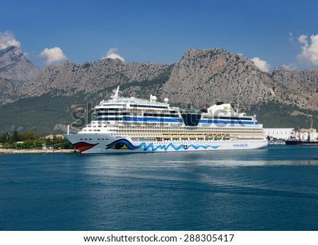 Antalya, Turkey, June 5, 2015. Cruise ship Aida in Port Akdeniz, Antalya - stock photo