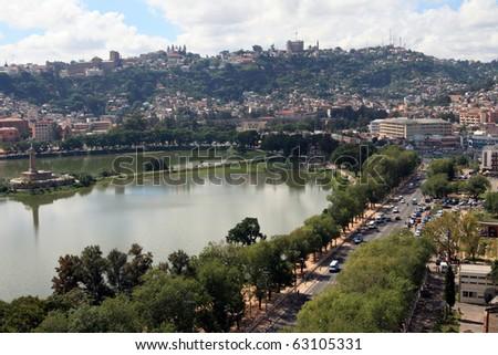 Antananarivo - lakeside: Part of the business section of Antananarivo, Madagascar. - stock photo