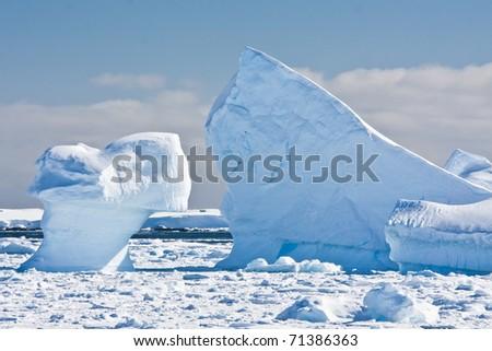 Antarctic glaciers in the snow - stock photo