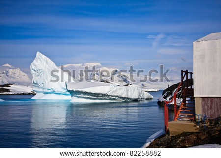 Antarctic glaciers in the snow. Beautiful winter background. - stock photo