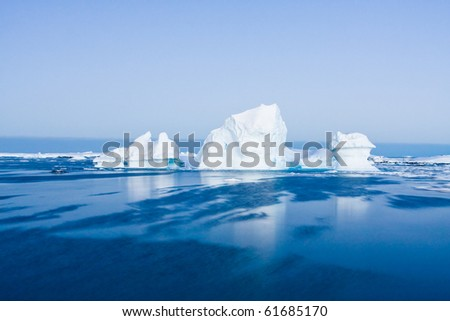 Antarctic iceberg in the snow - stock photo