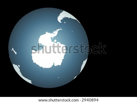 Antarctica. Accurate map. Includes the southern tips of South America, Australia, and Africa - stock photo
