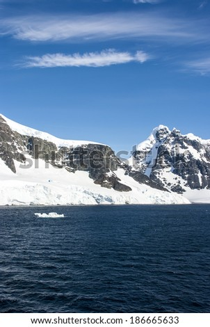 Antarctica - Antarctic Peninsula - Palmer Archipelago - Neumayer Channel - Global warming - Fairytale landscape / Blue sky in Antarctica  - stock photo