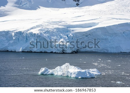 Antarctica - Antarctic Peninsula - Palmer Archipelago - Neumayer Channel - Global warming - Ice formations / Coastline of Antarctica with ice formations - stock photo