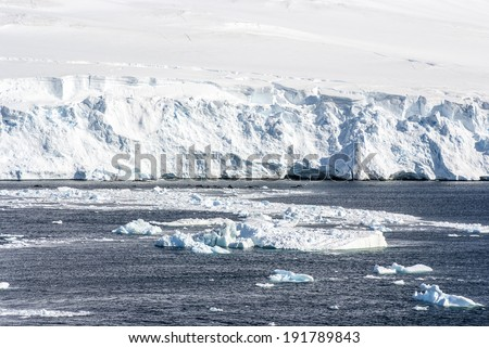 Antarctica - Coastline of Antarctica With Ice Formations - Global Warming / Coastline Of Antarctica  - stock photo