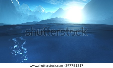 Antarctica Ice Field and Mountains Wide Lens 3D Illustration - stock photo