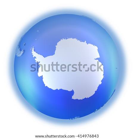 Antarctica on bright metallic model of planet Earth with blue ocean and shiny embossed continents with visible country borders. 3D illustration isolated on white background. - stock photo