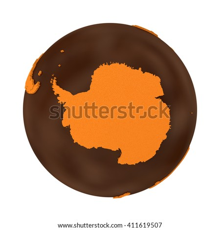 Antarctica on chocolate model of planet Earth. Sweet crusty continents with embossed countries and oceans made of dark chocolate. 3D illustration isolated on white background. - stock photo