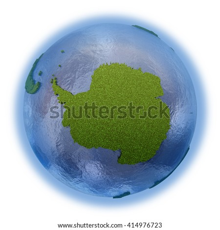 Antarctica on 3D model of planet Earth with grassy continents with embossed countries and blue ocean. 3D illustration isolated on white background. - stock photo