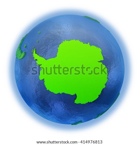 Antarctica on elegant green 3D model of planet Earth with realistic watery blue ocean and green continents with visible country borders. 3D illustration isolated on white background. - stock photo