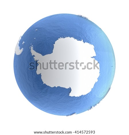 Antarctica on elegant silver 3D model of planet Earth with realistic watery blue ocean and silver continents with visible country borders. 3D illustration isolated on white background. - stock photo