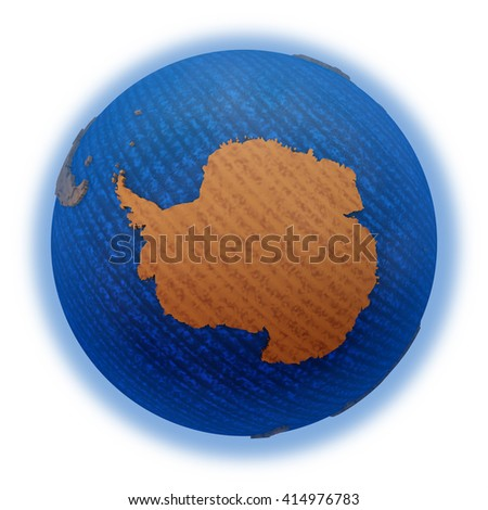 Antarctica on wooden model of planet Earth with embossed continents and visible country borders. 3D illustration isolated on white background. - stock photo