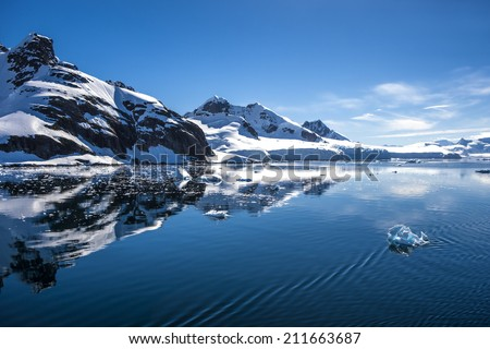 Antarctica Outstanding landscape with water reflection.  - stock photo