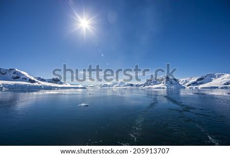 Antarctica Outstanding Natural Beauty, Paradise Bay Peninsula.  Photo; december 27 2011 - stock photo