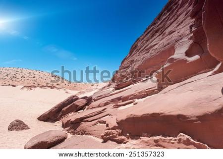 Antelope Canyon in Arizona. Horizontal Image Composition - stock photo