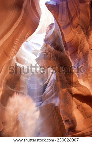 Antelope Canyon is One of The Most Interesting and the Most Photographed Slot Canyon in the American Southwest.Located on Navajo Reservation Territory near Page city,Arizona.Vertical Image Composition - stock photo