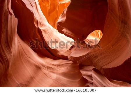 Antelope Canyon red sandstone wall abstract pattern. Page, Arizona. Lake Powell Navajo Tribal Park. - stock photo