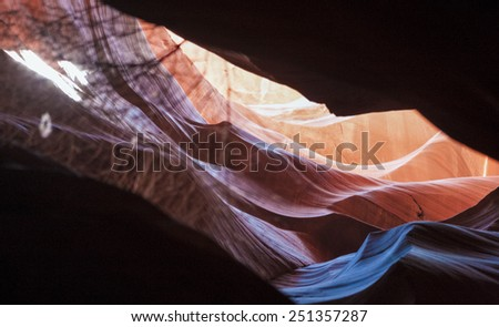 Antelope Canyon Shapes and Forms Seen Through the Cliffs in Navajo Reservation, Arizona State, united States of America. Narrow Horizontal Image - stock photo