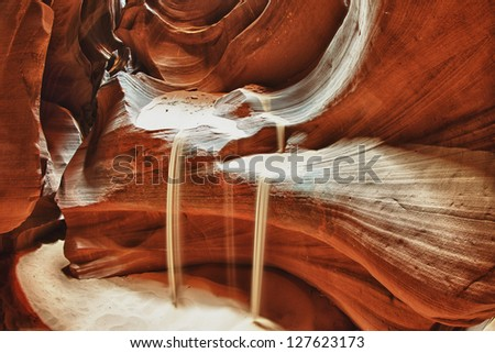 Antelope Canyon view with light rays - stock photo