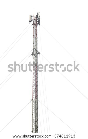 Antenna and cellular tower on white background - stock photo