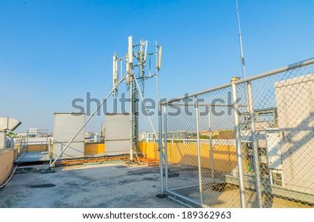 Antenna comunication, network broadcasting - stock photo