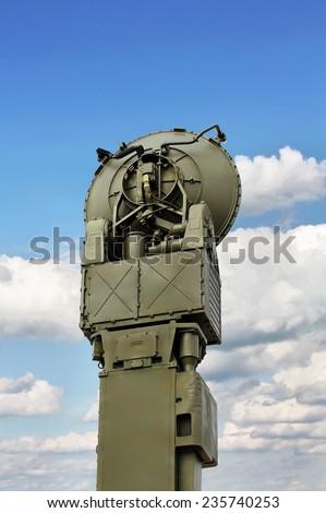 Antenna of the military radio relay communication line    - stock photo