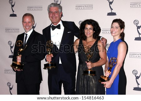 Anthony Bourdain at the Primetime Creative Arts Emmy Awards 2013 Press Room, Nokia Theater, Los Angeles, CA 09-15-13 - stock photo