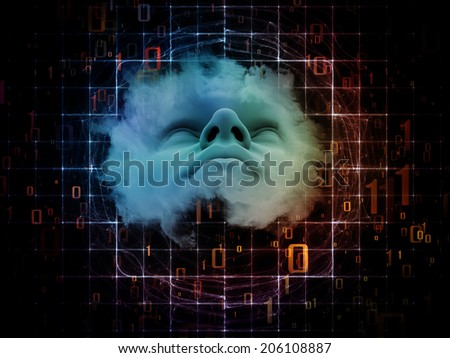 Anthropocentric series. Design composed of human face and design elements as a metaphor on the subject of technology, science, education and human mind - stock photo
