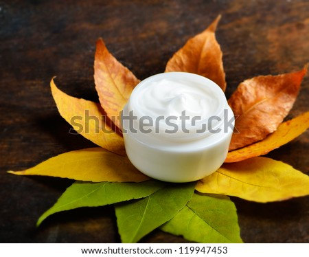 Anti-aging cream on a background of green and dry leaves - stock photo