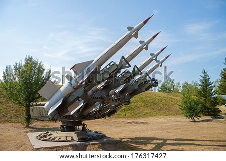 Anti-aircraft air defense missiles on position - stock photo