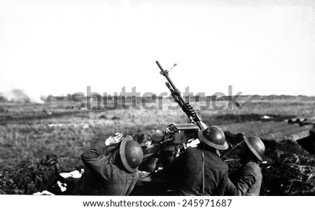 Anti-aircraft machine gun of 101st Field Artillery firing on a German observation plane at Plateau Chemin des Dames, France. WWI. March 5, 1918. - stock photo