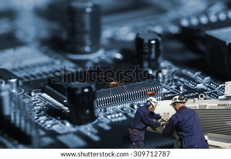 anti bug virus workers, symbolic with anti virus programs - stock photo