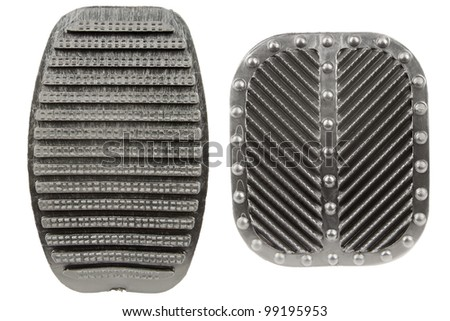 anti slip rubber used for the clutch and brake pedals in cars - stock photo