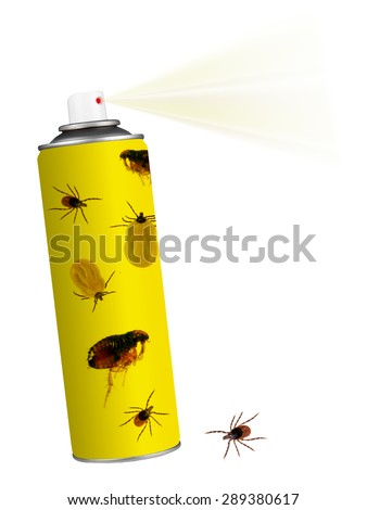 Anti tick, flea spray on white. Pet health disease risk. - stock photo