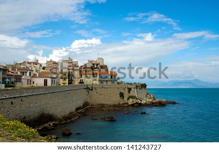 Antibes cityscape and mediterranean coast, French Riviera - stock photo