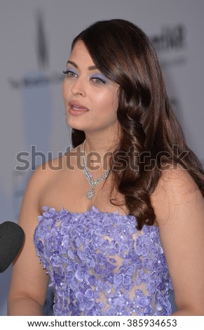 ANTIBES, FRANCE - MAY 21, 2015: Aishwarya Rai Bachchan at the 2015 amfAR Cinema Against AIDS gala at the Hotel du Cap d'Antibes, as part of the 68th Festival de Cannes. - stock photo