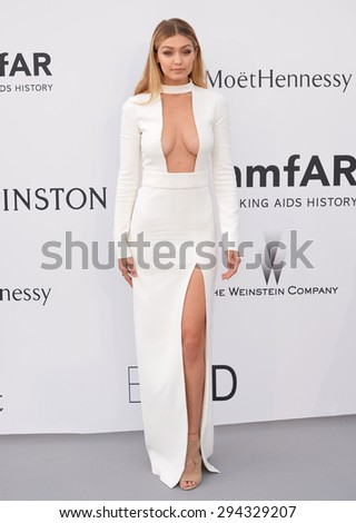 ANTIBES, FRANCE - MAY 21, 2015: Gigi Hadid at the 2015 amfAR Cinema Against AIDS gala at the Hotel du Cap d'Antibes, as part of the 68th Festival de Cannes. - stock photo