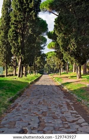 antic road in Rome, Via Appia Antica - stock photo