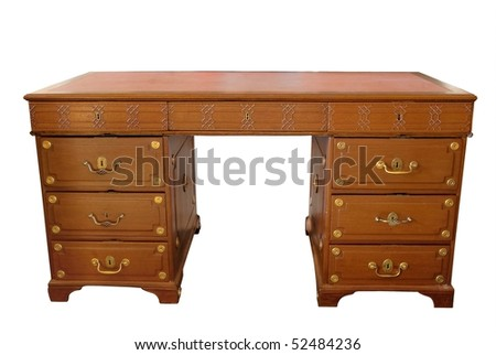 antic wood table isolated with clipping path - stock photo